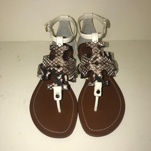596847211 Tory Burch Phoebe Black White Ivory Sandal Size 10